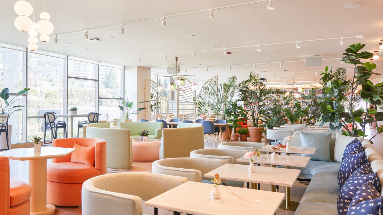 Soothing colors and shorter furniture are part of The Wing's women-centric design aesthetic.