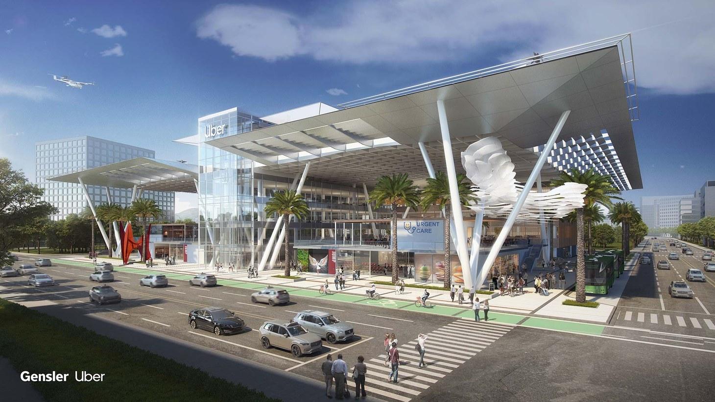 Gensler's CitySpace concept for Uber Elevate's Skyport Mobility Hub.