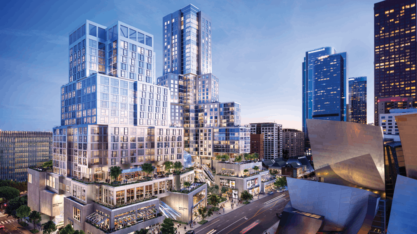A rendering of The Grand in downtown LA, designed by Frank Gehry.