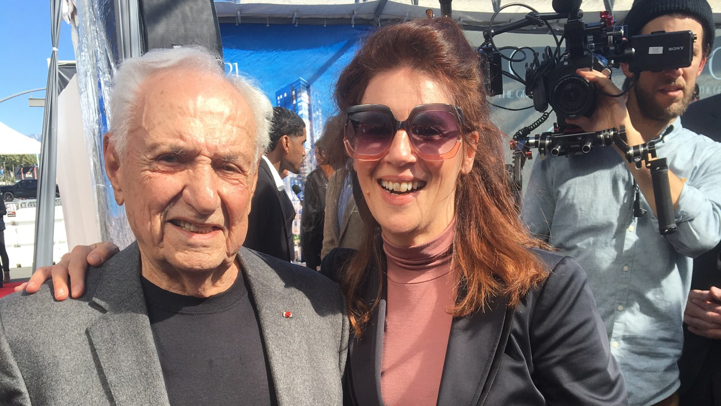 Frank Gehry with Frances Anderton at the groundbreaking of The Grand.