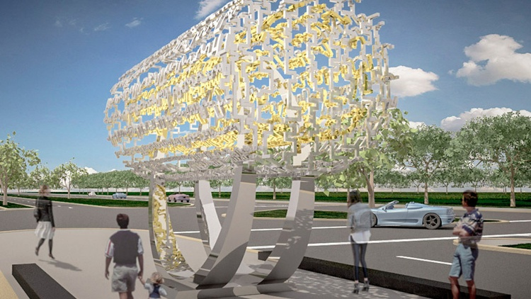 """A rendering of the """"Freedom Sculpture"""" designed by Cecil Balmond Courtesy of Farhang Foundation  A new public artwork will be unveiled at a public festival this Fourth of July in…"""