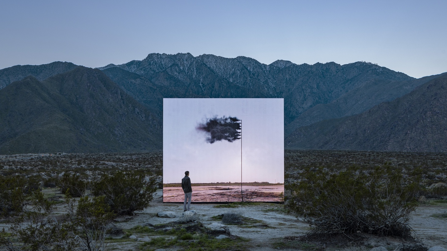 "John Gerrard, ""Western Flag (Spindletop, Texas) 2017,"" 2017-2019 is a digital simulation that challenges our culture's reliance on fossil fuel. It's installed at the Palm Springs Visitors Center as part of Desert X 2019."