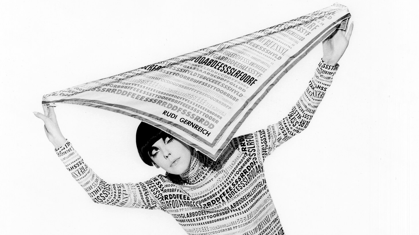 Peggy Moffitt modeling a typeface ensemble designed by Rudi Gernreich, Fall 1968 collection.