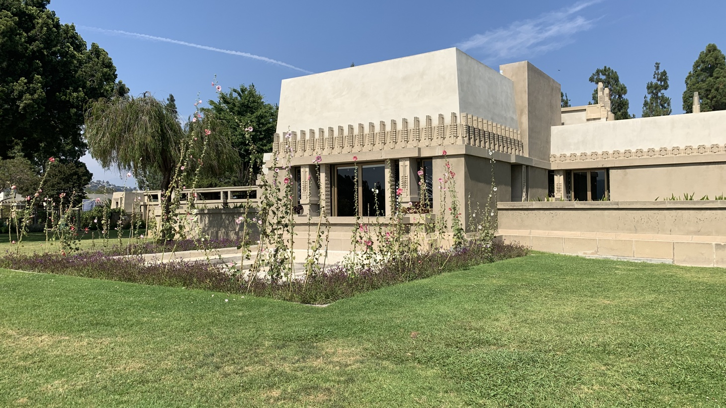 Views of the Hollyhock House, designed by Frank Lloyd Wright for theater producer and oil heiress Aline Barnsall. The house was named as one of eight Wright-designed structures to the list of UNESCO World Heritage Sites.