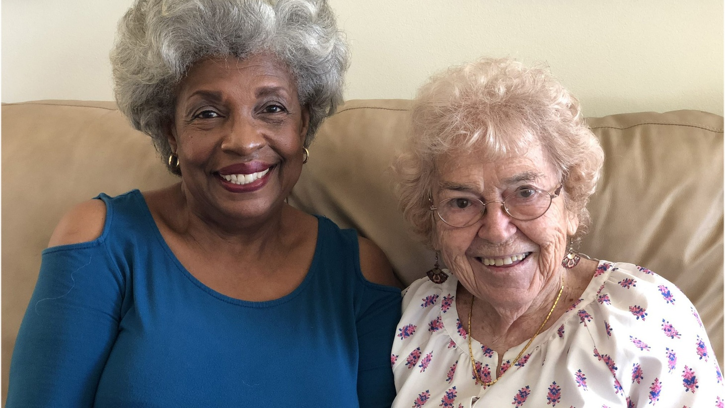 Pearlie Biles, left, and Jo Slee found each other through an agency called Affordable Living for the Aging, and became roommates at Slee's home in Westchester. Photo by Jenny Hamel.