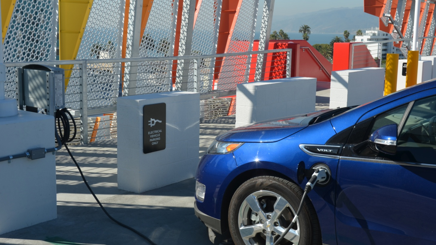 A Chevy Volt gets charged up at Parking Structure 6 in Santa Monica.