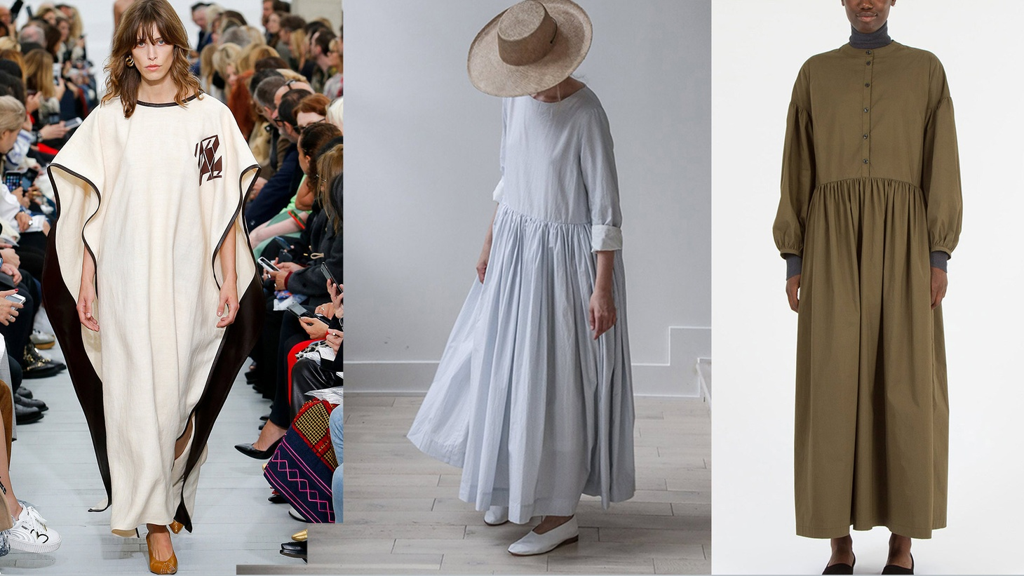 Examples of modest fashion in high design  (L-R) Céline, Rennes, Creatures of Comfort 
