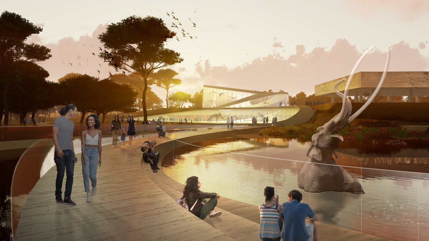 WEISS/MANFREDI conceptual approach features a bridge across the Lake Pit at La Brea Tar Pits.