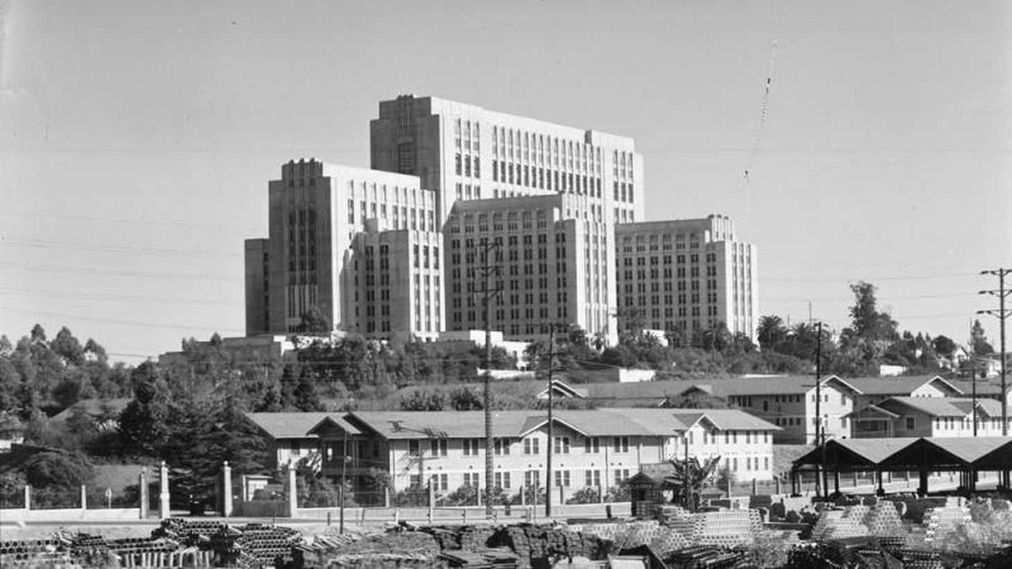The exterior of Los Angeles County Hospital in 1937.