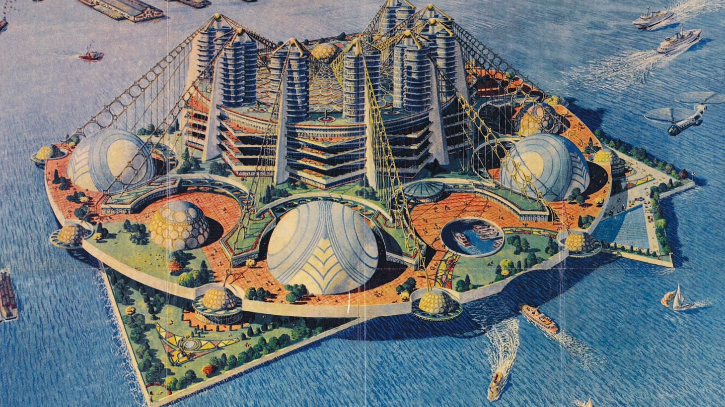 Bridges filled with skyscrapers, a geodesic dome over a baseball stadium, a subway system made of above-ground pneumatic tubes, and other crazy schemes were almost built in New York.