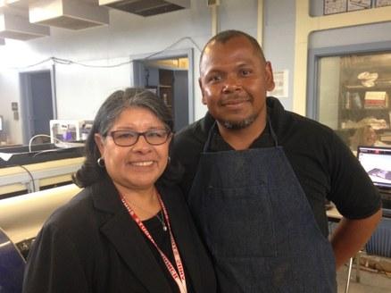 Van Nuys High School Principal Yolanda Gardea and Jose Castro, the school's machine class instructor