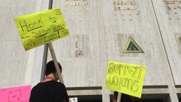 Dozens of fired museum employees and their supporters rallied last Friday outside the Marciano Art Foundation, the now-closed arts institution in a former Scottish Rite Masonic Temple…