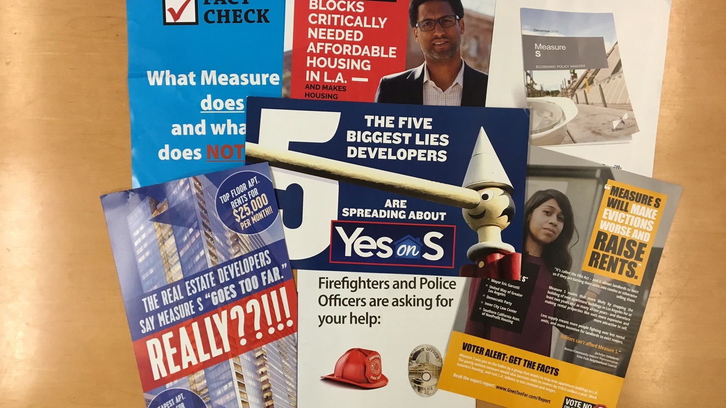 """Mailers for and against Measure S Photo by Avishay Artsy   If you live in Los Angeles these days, you may be feeling deluged by billboards and mailers for a March 7 ballot initiative called  Measure S . The billboards supporting the measure promise to """"save our neighborhoods."""" But what would be its actual impact on our cityscape? DnA sat down…"""