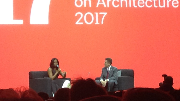 Michelle Obama speaks to AIA president Thomas Vonier at the AIA 2017 National Convention in Orlando, Florida Photo by Frances Anderton   The American Institute of Architects held…