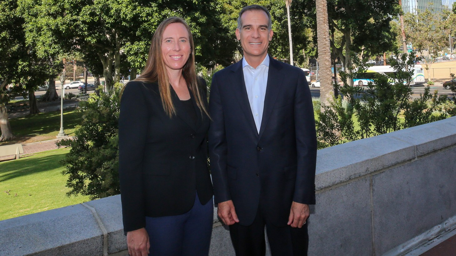 LA's first-ever city forest officer Rachel Malarich, with Mayor Eric Garcetti.