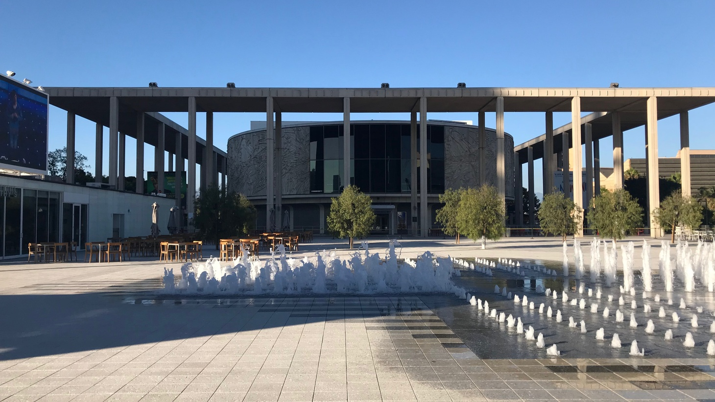 A view of the Mark Taper Forum from the newly redesigned Music Center Plaza.