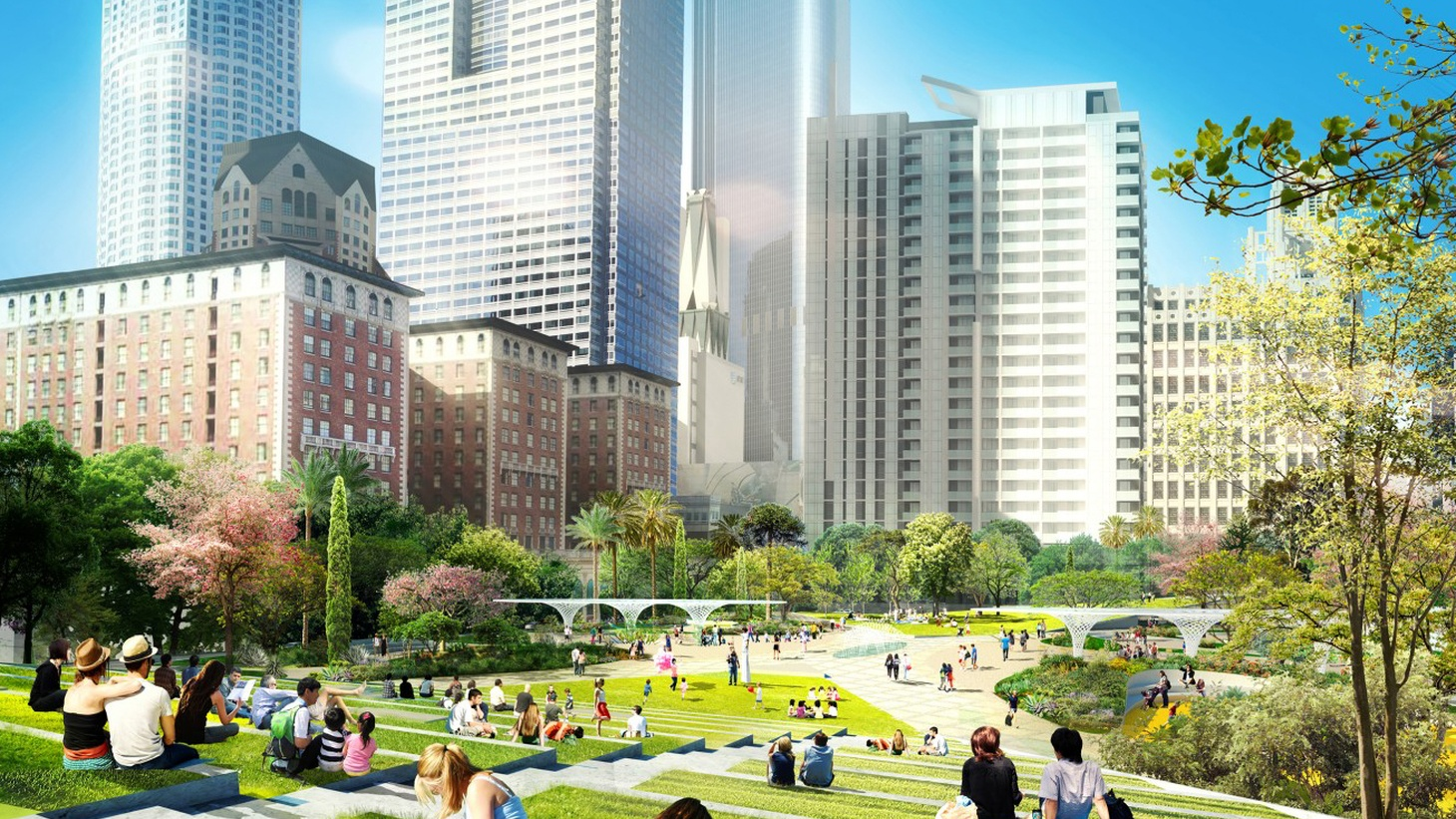 Today four competing schemes for a renewed Pershing Square were unveiled. Tonight the design teams will present them to the public at Broadway's Palace Theater — and the crowd is expected to reach capacity.
