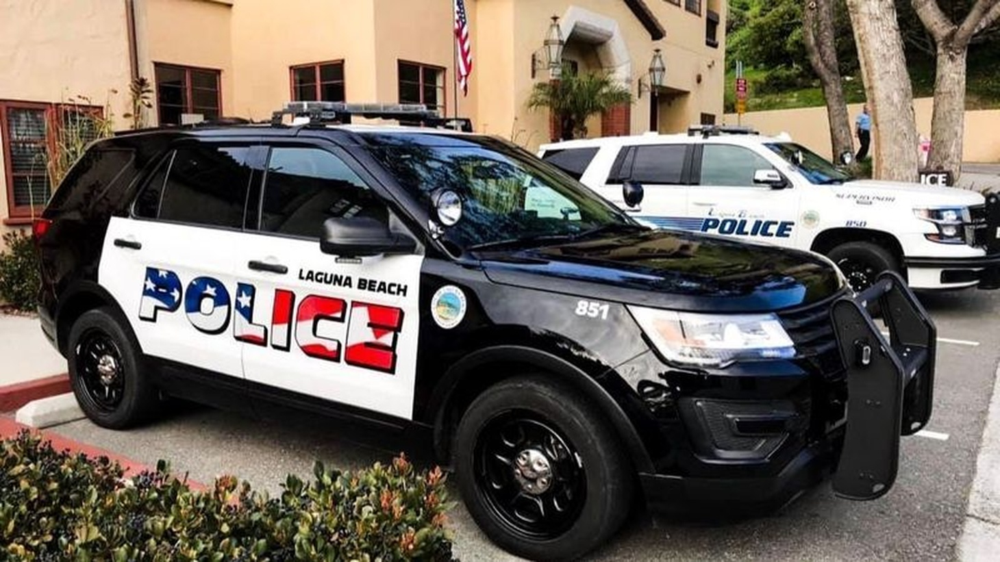 The flag design on Laguna Beach police cars has prompted a debate about whether the community is reflected in the new theme. (Laguna Beach Police Department)