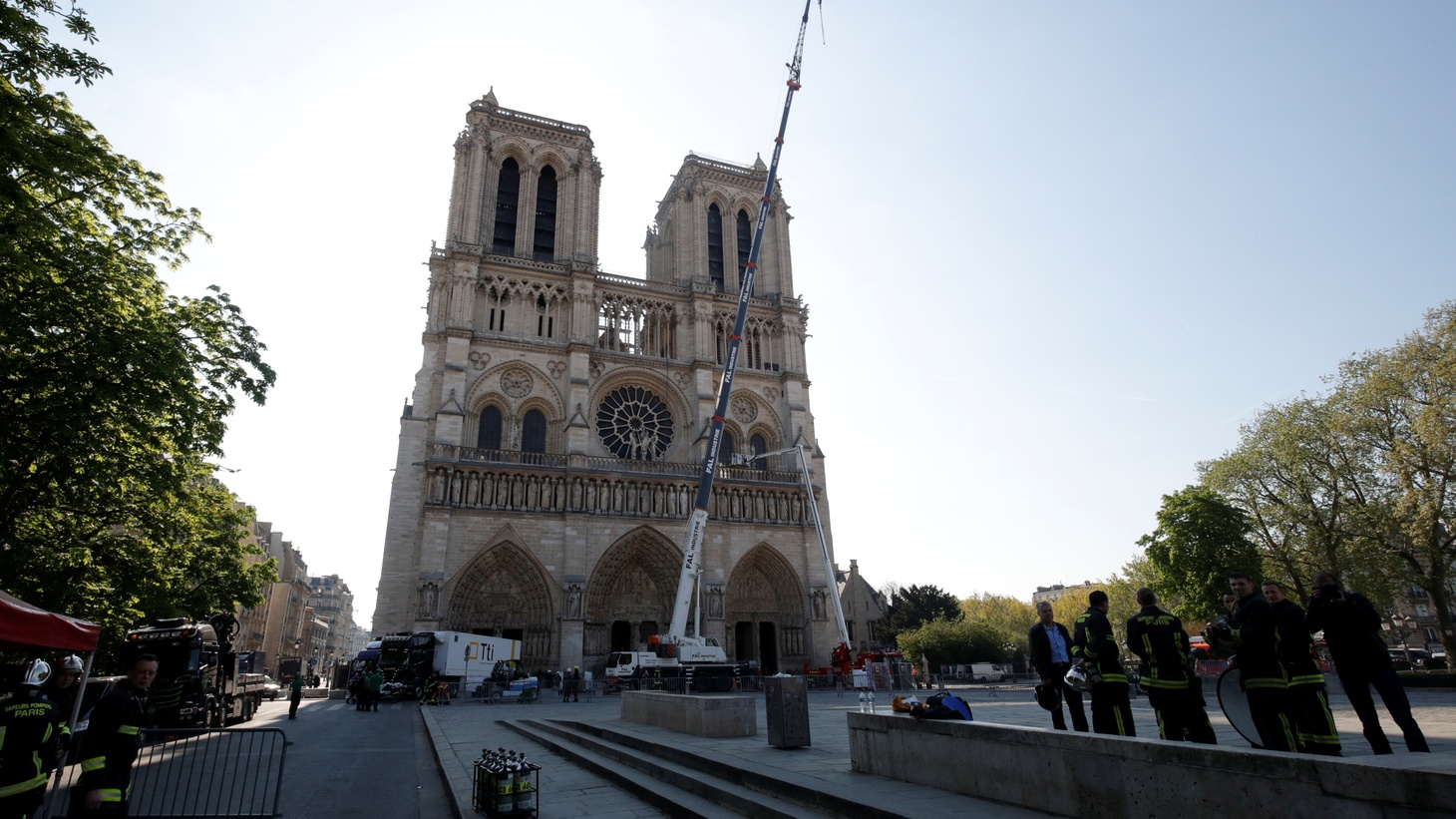 A view shows cranes working at Notre-Dame Cathedral, days after a massive fire devastated large parts of the gothic structure in Paris, France, April 19, 2019.