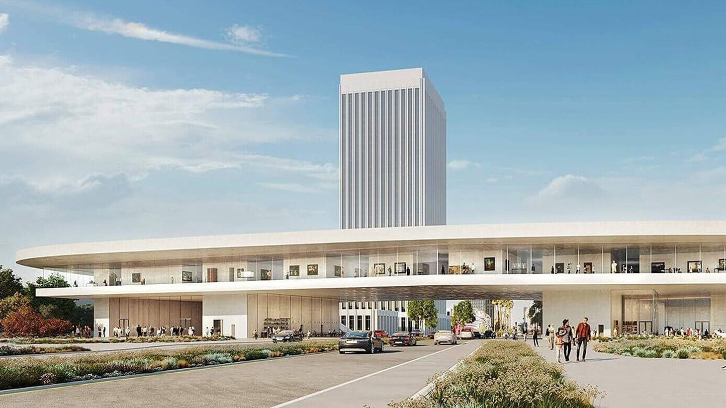 A rendering of the Peter Zumthor design for LACMA, with the gallery spanning Wilshire Boulevard.