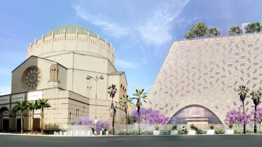 A rendering of the new Audrey Irmas Pavilion, next to Wilshire Boulevard Temple.