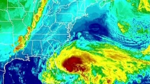 Satellite image showing Hurricane Sandy.