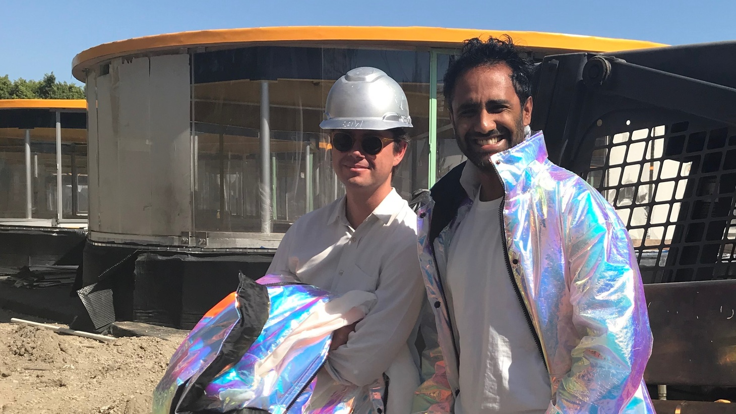 Sam Aldenton, left, and Rohan Silva, on site during construction of Second Home in Hollywood.