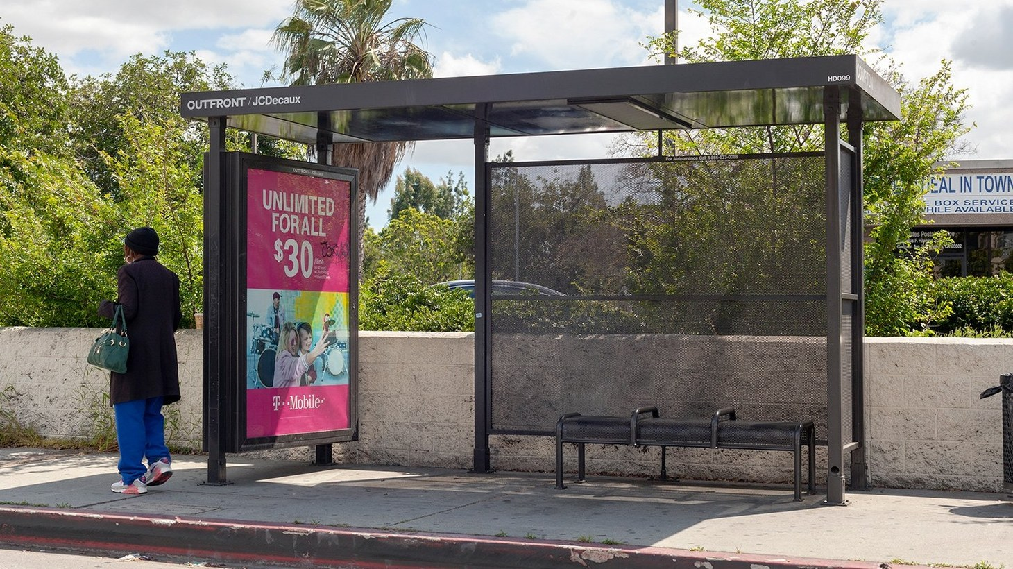 Bus shelters are installed and maintained by the company that controls the ad rights.