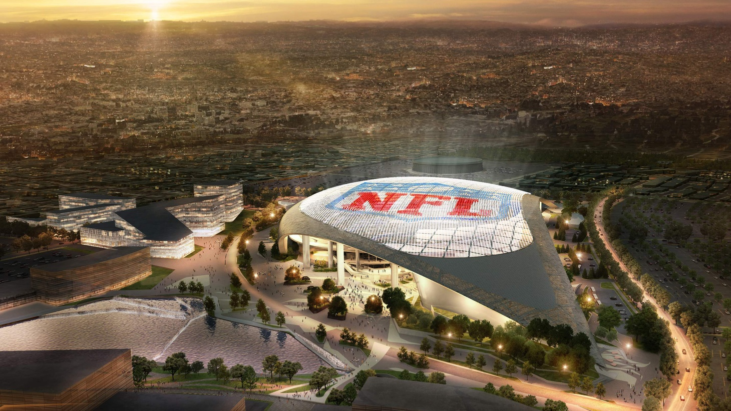 "Will the new NFL stadium in Inglewood be a ""monolithic hulk"" or an ""aesthetic anchor"" for a popular entertainment district? Designers, critics and the mayor of Inglewood discuss the design and its urban impact. Plus, a Frank Lloyd Wright house in Brentwood goes on the auction block."