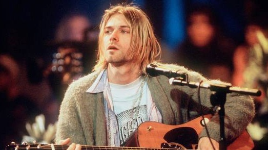 """Nirvana frontman Kurt Cobain at the taping of """"Unplugged in New York."""""""