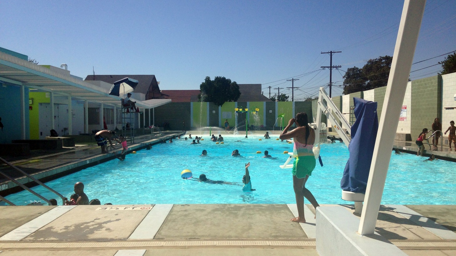 Simone Manuel's Olympic win highlights the politics of access to public swimming pools. We visit a gorgeous, newly-restored pool in South LA and ask if the color barrier to swimming has been lifted. And private murals and public installations are turning the outdoors into a gallery. What's behind the explosion of public art?