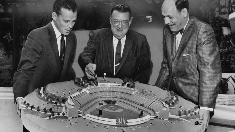 """Photograph caption dated August 26, 1960 reads, """"With apparently all obstacles now out of the way, actual construction of the Los Angeles Dodgers' baseball stadium can get under way."""