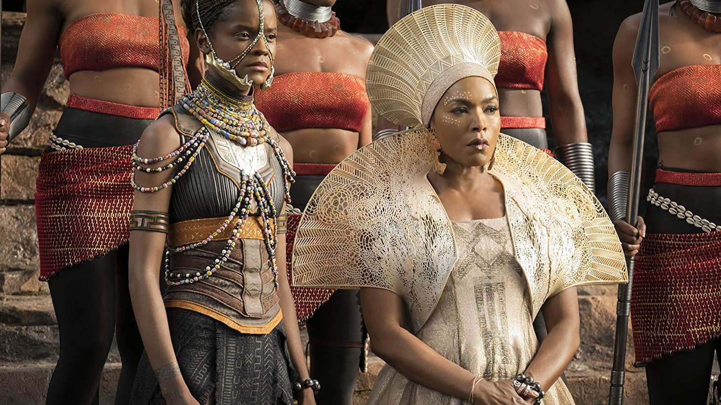 Angela Bassett and Letitia Wright in Black Panther (2018).