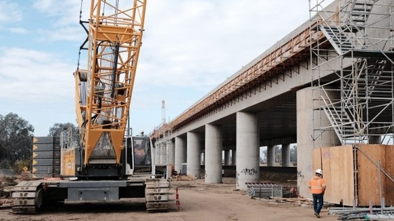 A section of the high speed rail track under construction in Fresno.