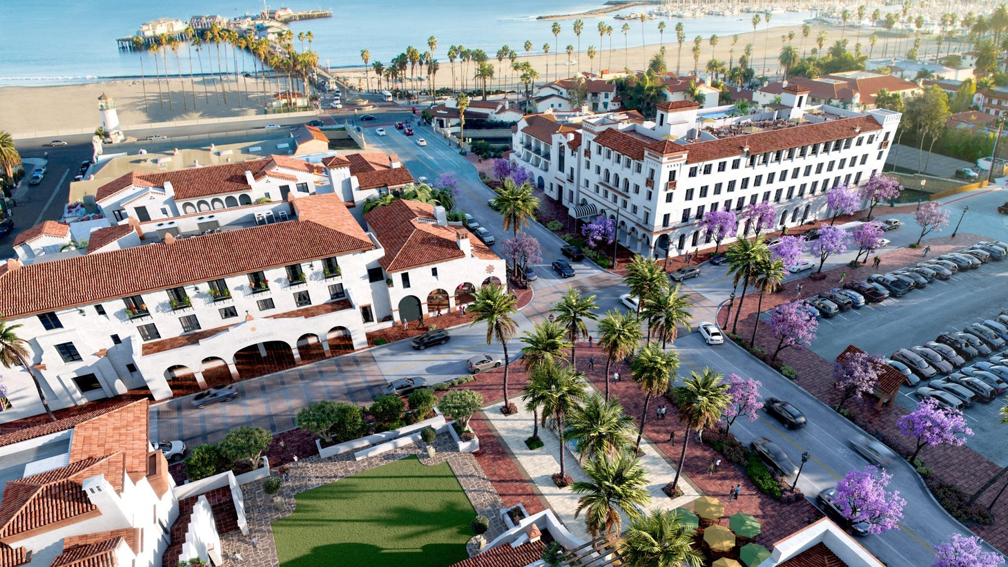 A new development called La Entrada sits between Santa Barbara's waterfront,  the Funk Zone neighborhood and the city's Amtrak station.