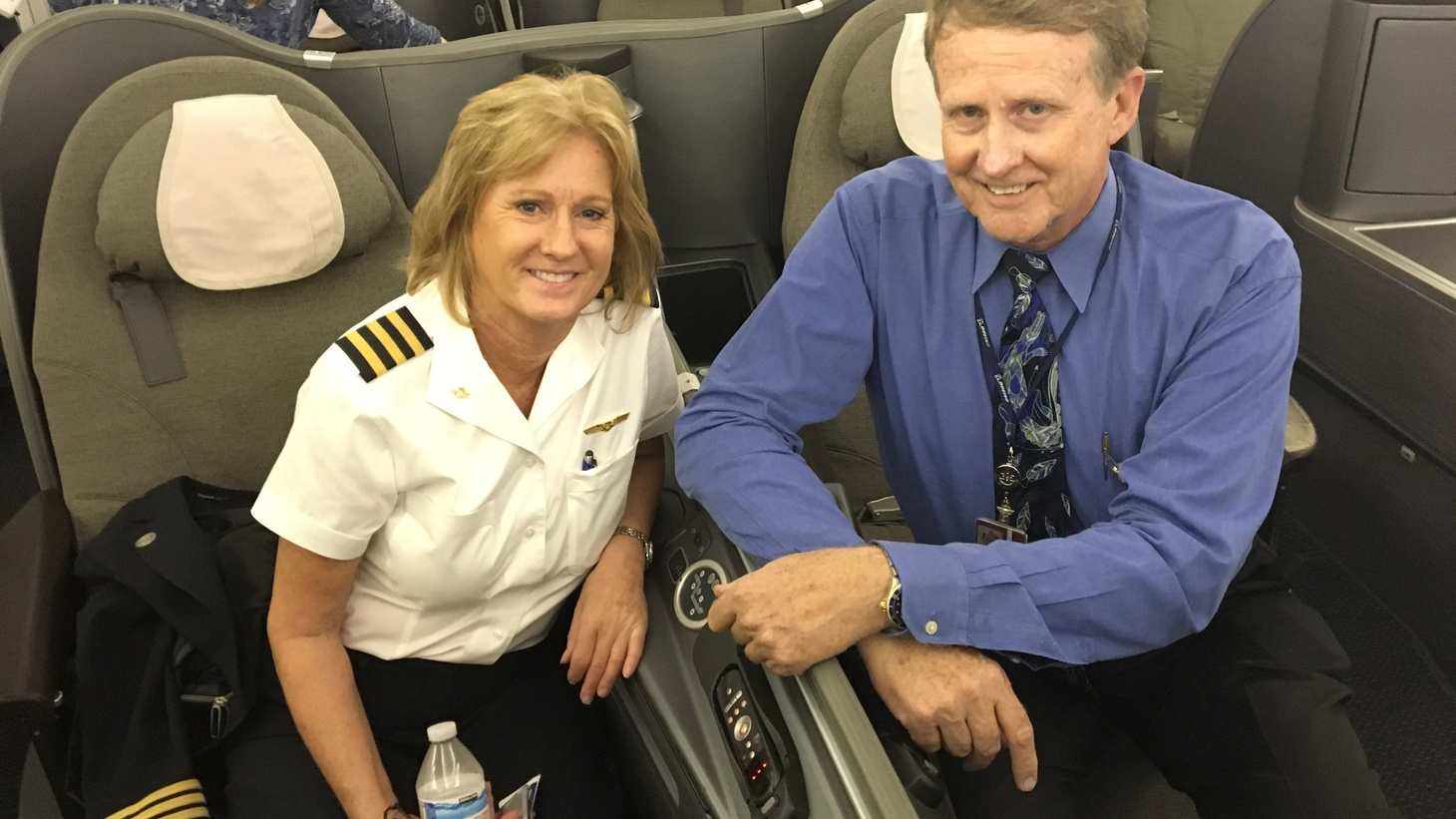 """Kathleen Hesse and Perry Cockreham with United Airlines on board a Boeing 747 Photo by Avishay Artsy   The """"Queen of the Skies"""" - the Boeing 747 - makes its final flight today for United Airlines.   DnA talks to wistful 747 pilots about what made the plane so special. One pilot says that even though it was a large airplane it """"handled like a…"""