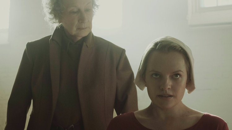 Margaret Atwood and Elisabeth Moss in 'The Handmaid's Tale' Photo by George Kraychyk/Hulu 