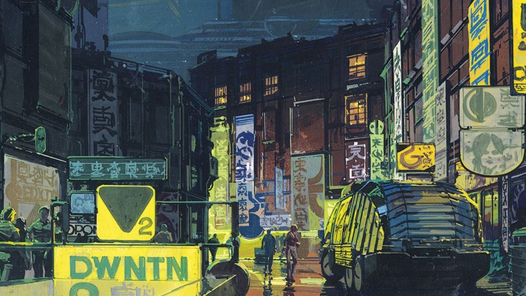 """A concept drawing by Syd Mead of a futuristic street scene for """"Blade Runner"""" (1982)   Syd Mead envisioned the Spinner flying police cars in Blade Runner, the Light Cycles in Tron and…"""