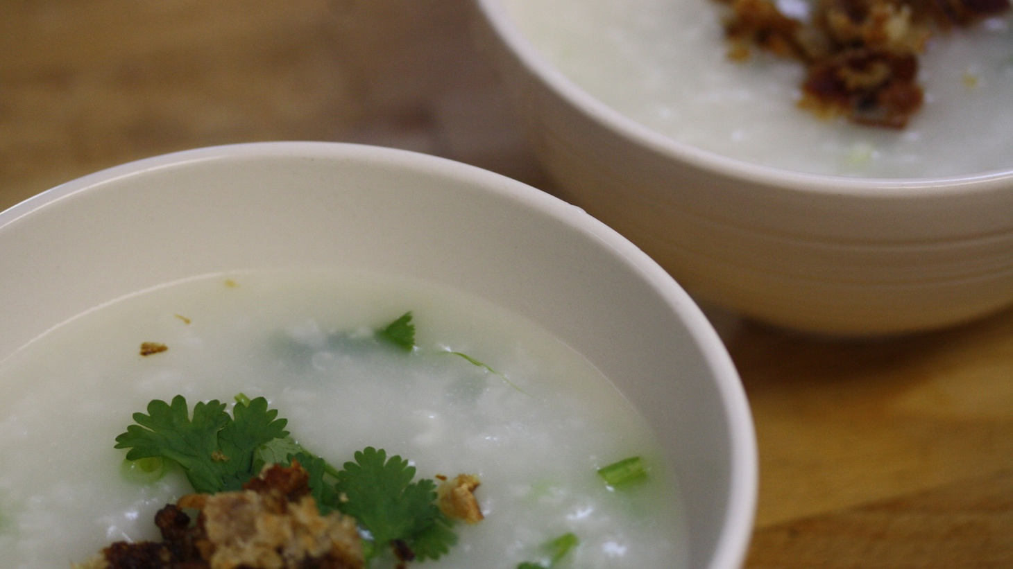Where does Jonathan go to satisfy cravings for a Hong Kong-style breakfast? Delicious Food Corner in Monterey Park to dip Chinese crullers wrapped in rice noodles into steaming bowls of congee topped with minced pork and salted mustard greens.