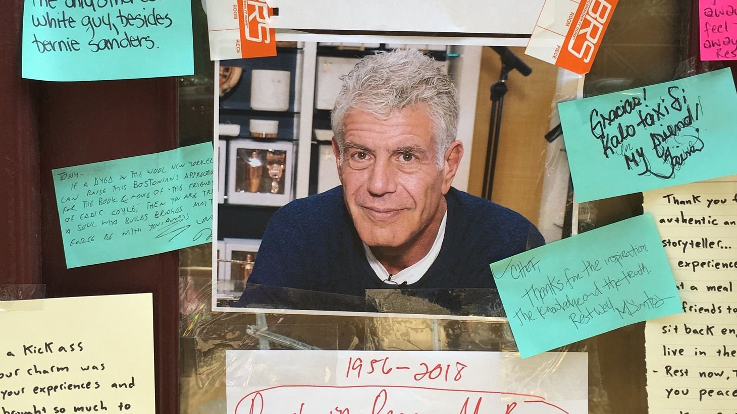 Shortly after Bourdain's death last year, mourners taped notes to the windows of the now-shuttered Brasserie Les Halles in New York City.
