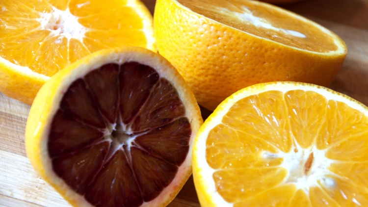 Blood oranges are especially prized for their deep crimson flesh and robust flavor.