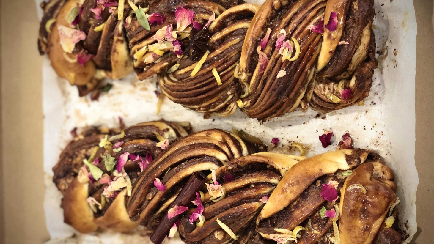 With tahini, cream, and roasted pecan, Shimi Aaron experiments with different flavors in his babka.