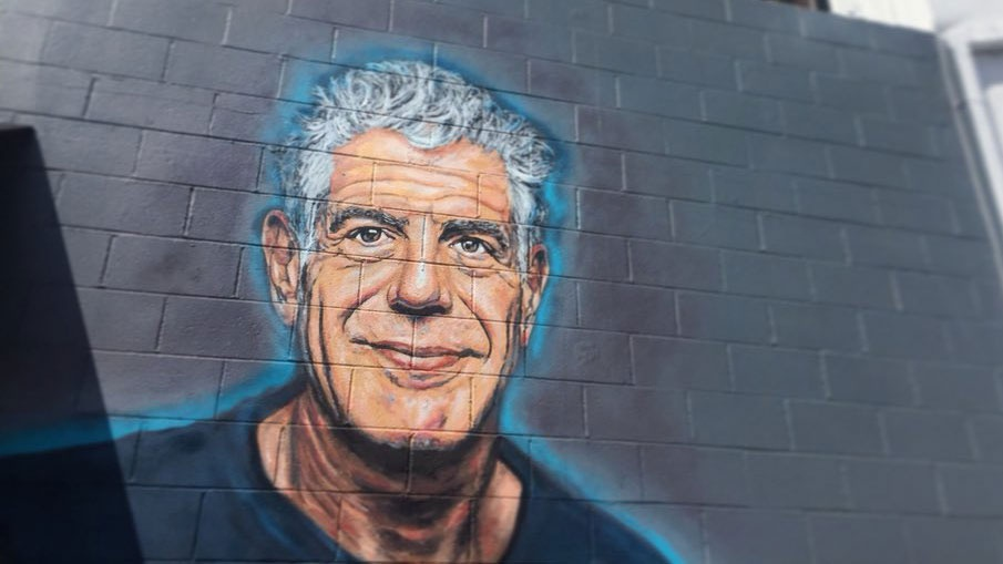 A mural depicting the late chef and adventurer Anthony Bourdain in Santa Monica, California.