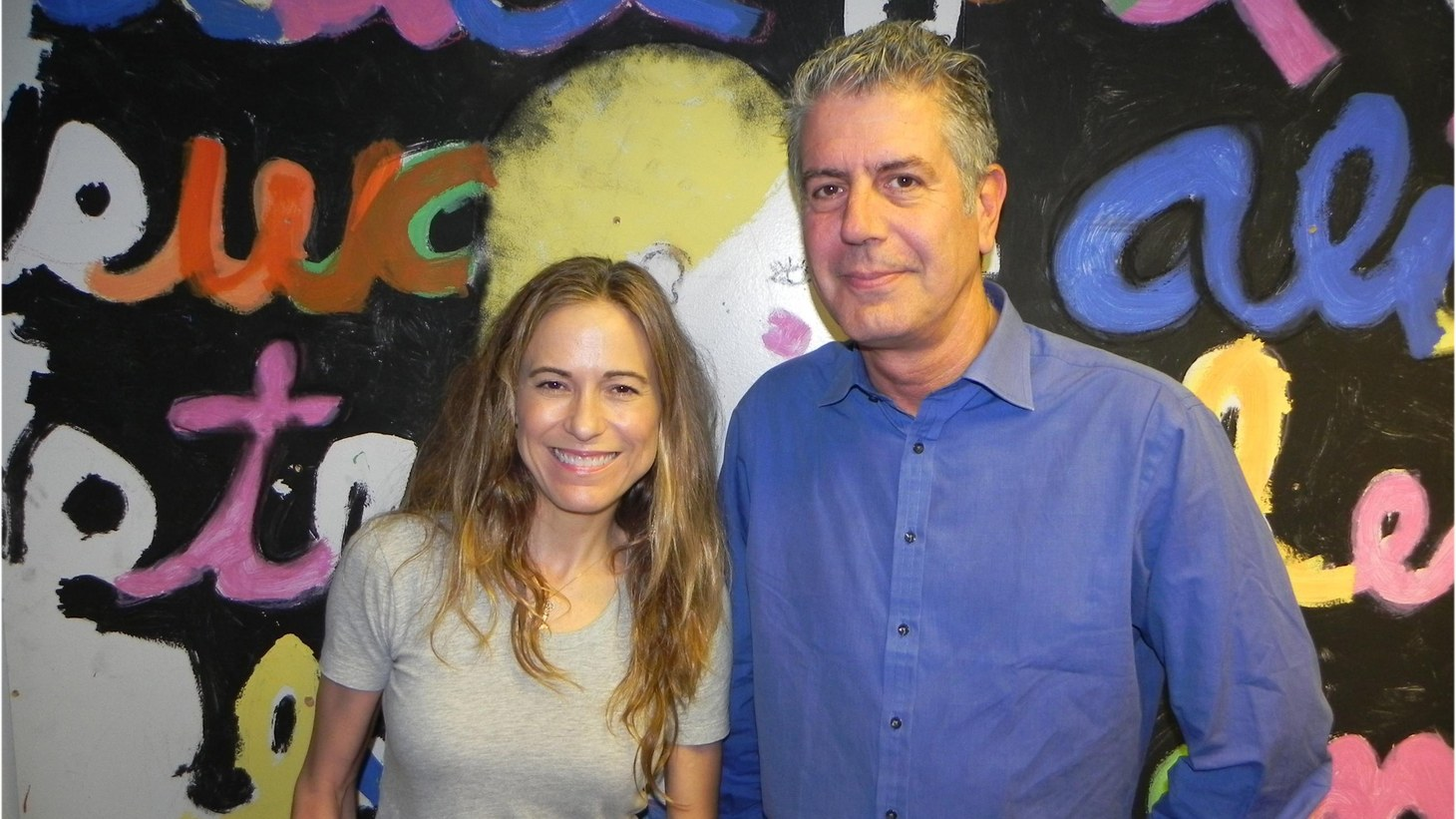 Anthony Bourdain with Liza Richardson during his KCRW's Guest DJ show in 2010.