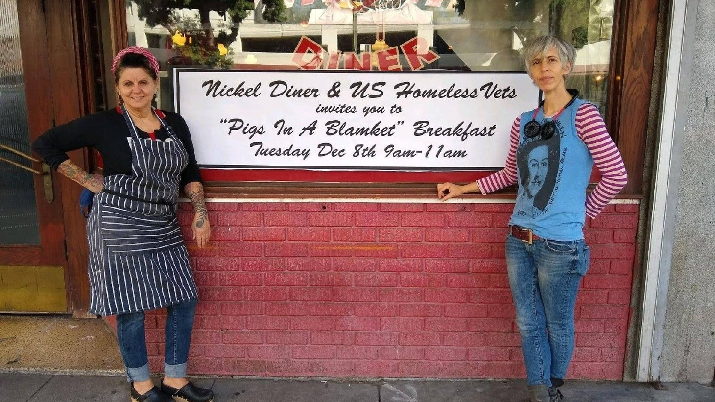 Seen here prior to COVID, Chef Monica May and business partner, Kristen Trattener, unearthed old menus on the wall with 25 cent hamburgers and 15 cent baked beans, as they renovated 1940s space to become Nickel Diner.