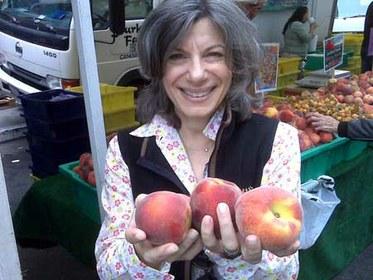 Amelia Saltsman with Peaches