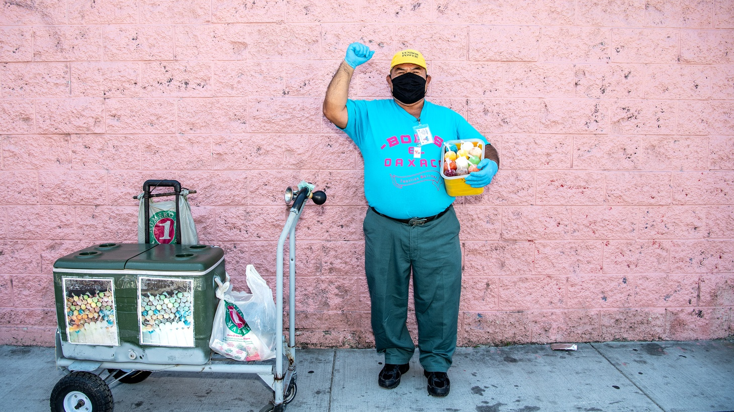Faustino Martinez owns a pushcart business, Bolis El Oaxaco, that sells ice pops.