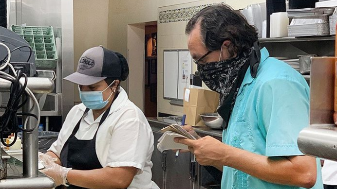 Gustavo Arellano at El Cholo, where Sonora-style tortillas are made with milk using a 100-year-old recipe.