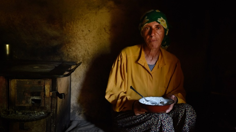 """The star of the documentary """" Honeyland   """" is Haditze, a woman living in a remote settlement in the Macedonian mountains. Her elderly mother is failing and half blind."""