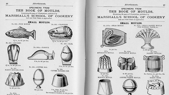 Agnes B. Marshall used molds often in the shape of animals for her ice cream display.